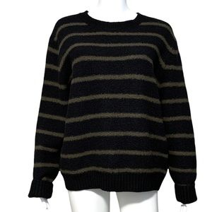 Vince Boucle Slouchy Wool Blend Striped Crew Neck Sweater in Navy / Khaki
